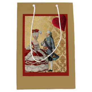 French Vntage Valentine Gold and Red Medium Gift Bag