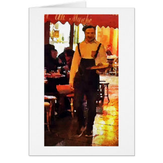 French Waiter in Paris France Art Print Notecard