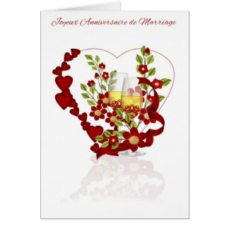French Wedding Anniversary With Champagne Flowers Greeting Card