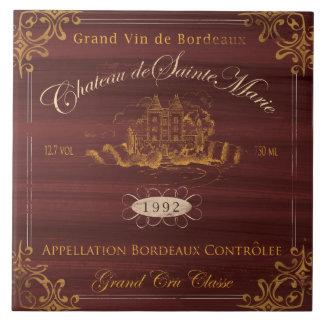 French Wine Label Tile:Bordeaux Large Square Tile
