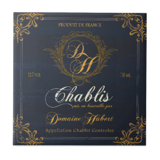 French Wine Label Tile:Chablis Small Square Tile