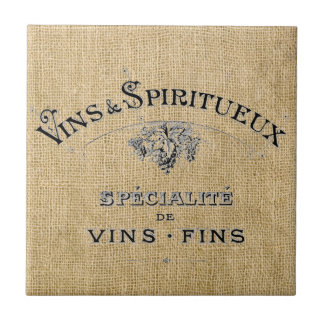 French Wine on Burlap Small Square Tile