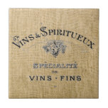 French Wine on Burlap Tile
