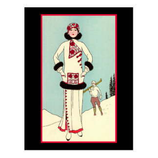 French Winter Fashion Postcard