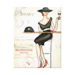 French Woman Drinking Red Wine Gallery Wrapped Canvas
