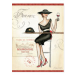 French Woman Drinking Red Wine Postcard