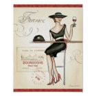 French Woman Drinking Red Wine Poster