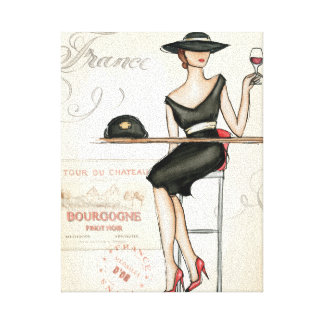 French Woman Drinking Red Wine Stretched Canvas Prints