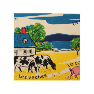 French Words on the Farm Wood Canvas