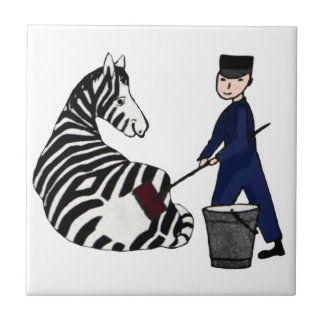 French Zookeeper Zebra Funny Stripes Vintage Tile