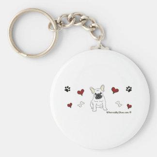 FrenchBulldogWht Basic Round Button Key Ring