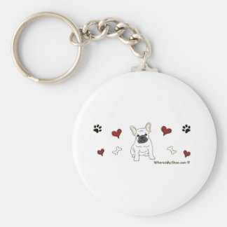 FrenchBulldogWht Key Ring