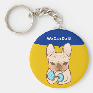 Frenchie Can Do It With You Basic Round Button Key Ring