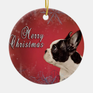 Frenchie Christmas card Christmas Ornament