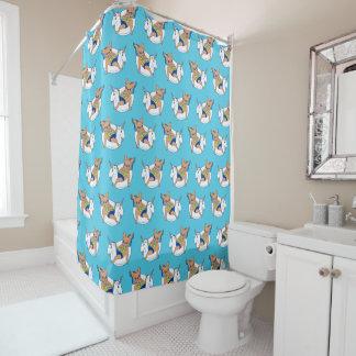 Frenchie enjoys summer on unicorn pool float shower curtain