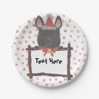 Frenchie, French Bulldog, Holiday, Christmas Paper Plate