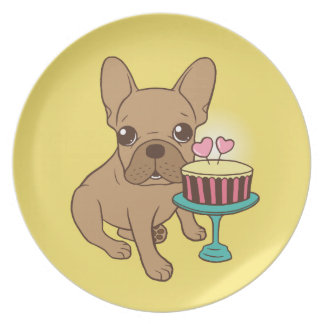 Frenchie has a Birthday Plate