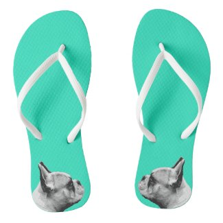 Frenchie Love / French Bulldog | Aqua Coloured Flip Flops