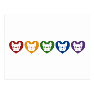Frenchie Love, Rainbow Postcard