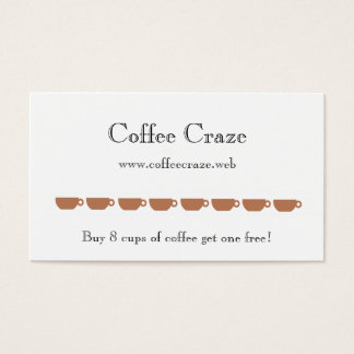 """Frequent Visitor"" (8 Coffee Cups) Loyalty Cards"