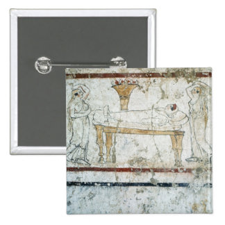 Fresco from the Tomb of Gaudio, c.480 BC 15 Cm Square Badge