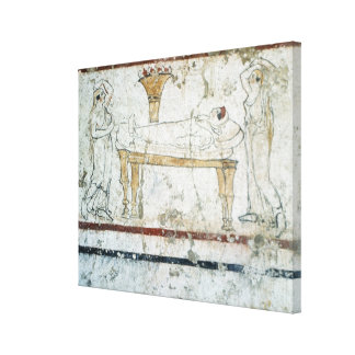 Fresco from the Tomb of Gaudio, c.480 BC Canvas Print