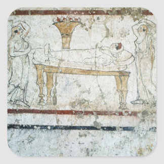 Fresco from the Tomb of Gaudio, c.480 BC Square Sticker