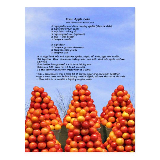 Fresh Apple Cake Recipe Postcard