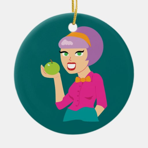 Fresh Apple Retro Girl Christmas Tree Ornaments
