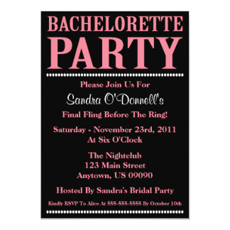 "Fresh Bachelorette Party Invitations (Pink/Black) 5"" X 7"" Invitation Card"