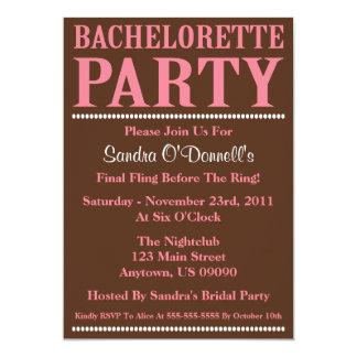 "Fresh Bachelorette Party Invitations (Pink/Brown) 5"" X 7"" Invitation Card"