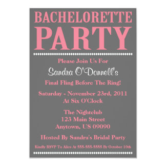 "Fresh Bachelorette Party Invitations (Pink / Gray) 5"" X 7"" Invitation Card"