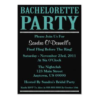 "Fresh Bachelorette Party Invitations (Teal/Black) 5"" X 7"" Invitation Card"