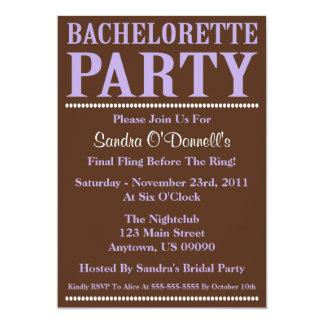 "Fresh Bachelorette Party Invitations Violet/Brown 5"" X 7"" Invitation Card"