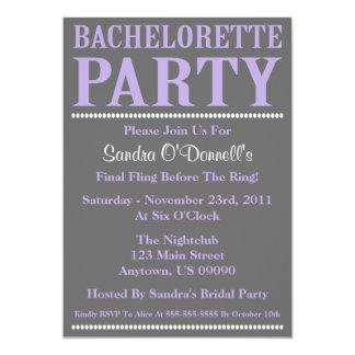Fresh Bachelorette Party Invitations (Violet/Gray)