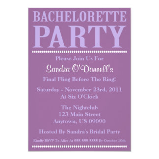 "Fresh Bachelorette Party Invitations Violet/Purple 5"" X 7"" Invitation Card"