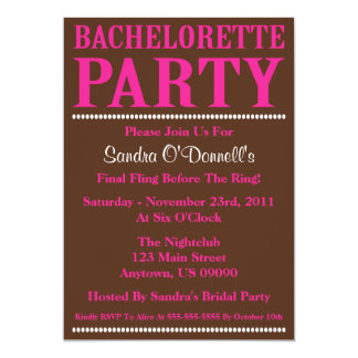 "Fresh Bachelorette Party Invites (Hot Pink/Brown) 5"" X 7"" Invitation Card"