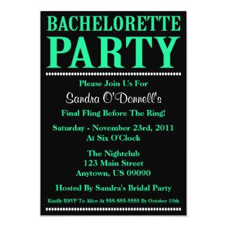 """Fresh Bachelorette Party Invites (Sea Green/Black) 5"""" X 7"""" Invitation Card"""