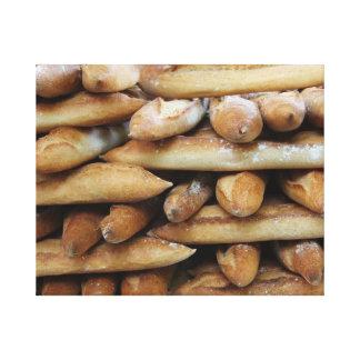 Fresh baguettes stretched canvas print