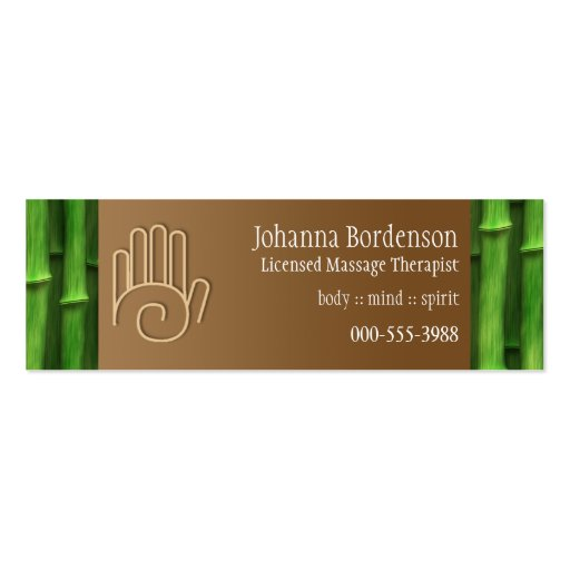 Fresh Bamboo Massage Therapy Business Card front side