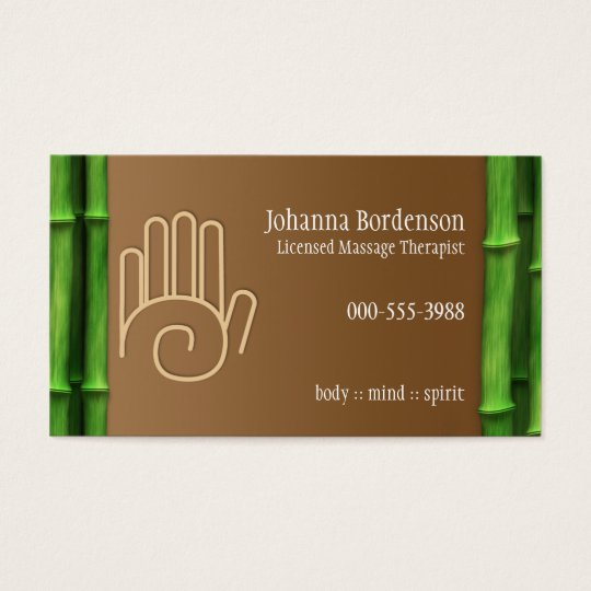 Fresh Bamboo Massage Therapy Horizontal Alternate Business Card