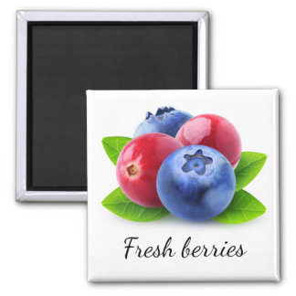 Fresh berries square magnet