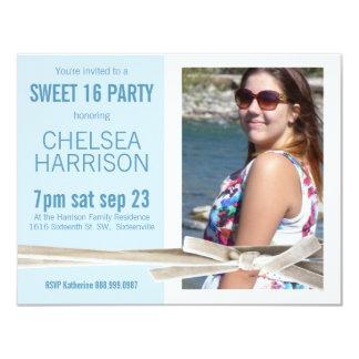 "Fresh Blue and White Sweet 16 Photo Birthday 4.25"" X 5.5"" Invitation Card"