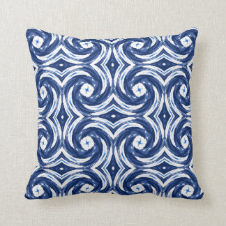 Fresh Blue and White Tie-Dye Style Swirls Pattern Cushion