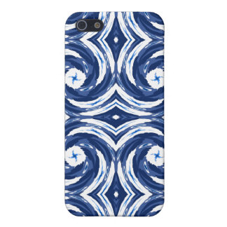 Fresh Blue and White Tie-Dye Style Swirls Pattern iPhone 5/5S Covers