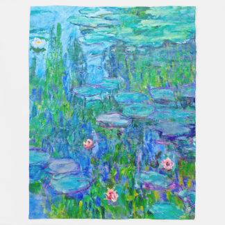 Fresh Blue Water Lily Pond Monet Fine Art Fleece Blanket