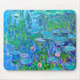 Fresh Blue Water Lily Pond Monet Fine Art Mouse Pad