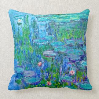 Fresh Blue Water Lily Pond Monet Fine Art Throw Pillow