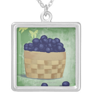 Fresh Blueberries Silver Plated Necklace