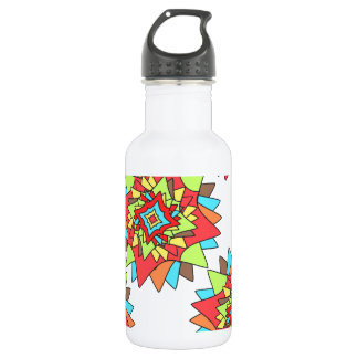 Fresh Bright Multicolored  Flower Shapes Pattern 532 Ml Water Bottle